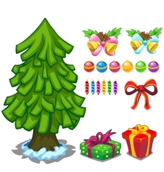 Christmas tree and toy set for decoration vector image