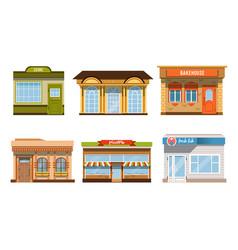 City buildings facades collection pizzeria fresh vector