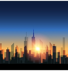 Cityscape with sunset vector image