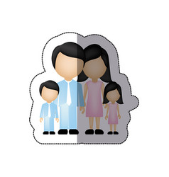 color family with their children icon vector image