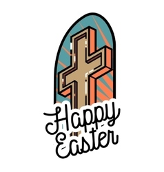 Color vintage easter emblem vector image
