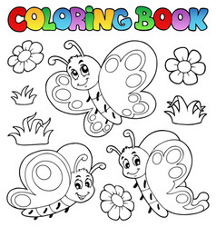 Coloring book with butterflies 2 vector