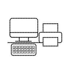 Computer and printer office business device vector