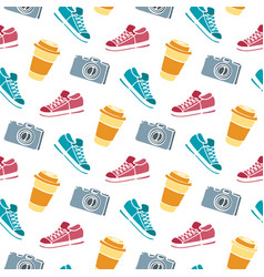 Cup of coffee to go camera sneakers seamless vector