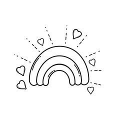 Cute rainbow cartoon in black and white vector