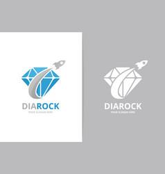Diamond and rocket logo combination unique gem vector