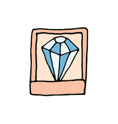 diamond in a casket cartoon icon vector image