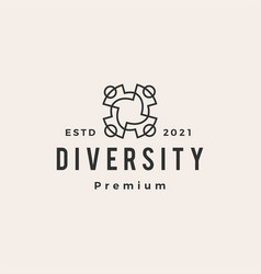 diversity people team family hipster vintage logo vector image
