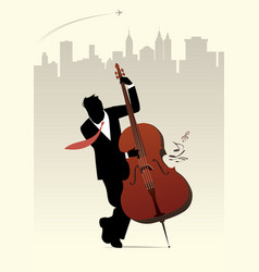elegant man silhouette playing double bass on vector image
