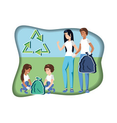 Family with bags recycling in eco friendly scene vector
