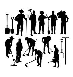 Farmer silhouettes vector
