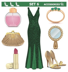 Female Accessories Set 6 vector image