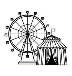 ferries wheel icon black and white vector image