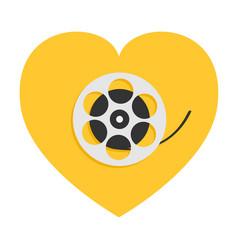 film movie reel heart shape i love cinema icon vector image