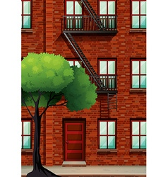 Fire escape on the apartment building vector