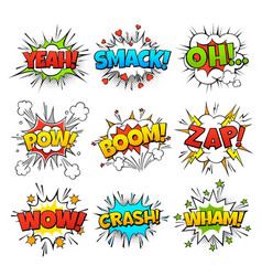 funny comic words in speech bubble frames vector image