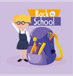 girl student wearing glasses with backpack and vector image