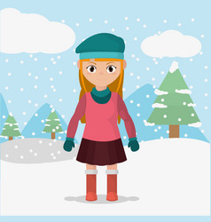 Girl with winter clothes in the cold weather vector
