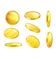 golden coin in different positions money vector image