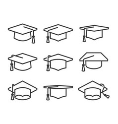 Graduation hat icon set in line style vector