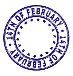 Grunge textured 14th of february round stamp seal vector