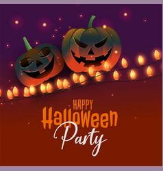 happy halloween pumpkin with party lights vector image
