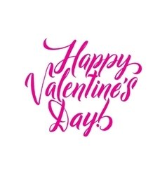 Happy valentines day pink lettering background vector
