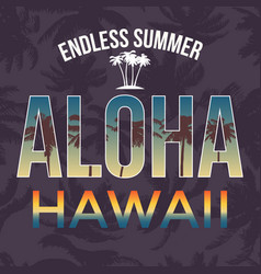 hawaii beach tee print with palm tree t-shirt vector image