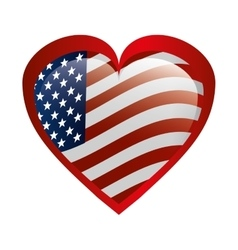 Heart love with usa flag vector