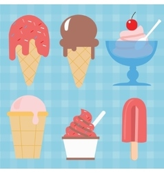ice cream cone icon set sweet vector image