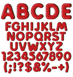 Inflatable alphabet numbers in color watermelon vector