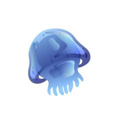 Jellyfish beautiful blue swimming underwater vector