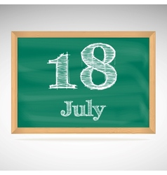 July 18 day calendar school board date vector