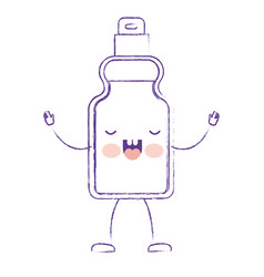 kawaii cartoon detergent bottle in purple blurred vector image