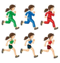 Lady running vector