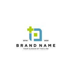 Letter p cross plus hospital medical logo design vector