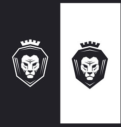 Lion head with king crown logo vector