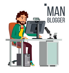 man blogger video concept professional vector image