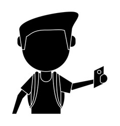 man tourist holding passport pictogram vector image