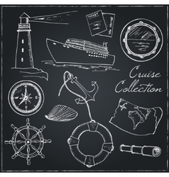Marine and vacation isolated doodles elements vector image