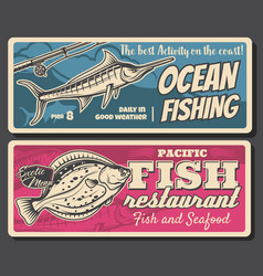 Marlin and flouder fish with fishing rod and reel vector