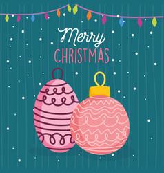 merry christmas celebration balls lights snow vector image