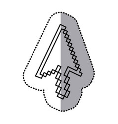 Monochrome contour sticker of arrow pointer vector