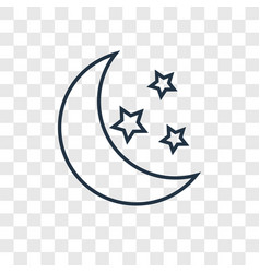 Moon concept linear icon isolated on transparent vector