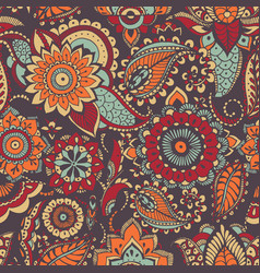motley oriental paisley seamless pattern with vector image