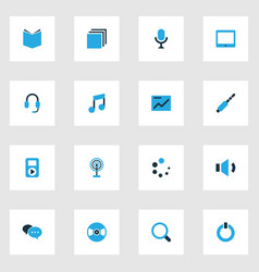 Multimedia colorful icons set collection of group vector