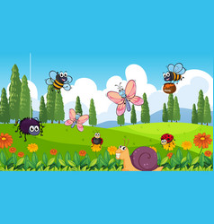 Nature scene background with many insects vector