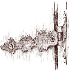 Old door hinge vector