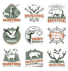 Real Hunt Emblem Set vector image