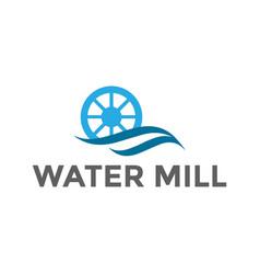River creek water mill ocean sea wave cog wheel vector
